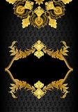 Vintage vertical frame with golden ornate leafy decor and the ma Stock Images