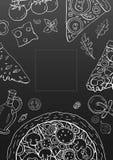 Vintage vertical pizza banner on black background. Vector outline pizza menu royalty free illustration