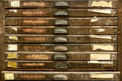 Vintage vertical wooden drawers Royalty Free Stock Images