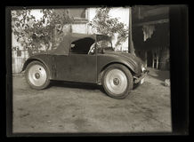 Vintage very rare and curious car negativ on glass plate from 1940 Stock Image