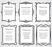 Vintage victorian border frames vector set for certificate and book design stock illustration