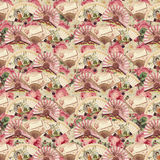 Vintage Victorian Fan and Roses Floral Pattern Royalty Free Stock Photography