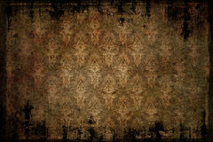 Vintage victorian wallpaper. Vintage run-down victorian wallpaper with baroque vignette, toned image, paper background for your message Stock Photography