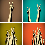 Vintage victory hands concept Royalty Free Stock Photos
