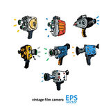 Vintage video camera drawing on a white background. Illustration Royalty Free Stock Image