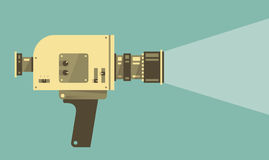 Vintage video camera with light vector illustration