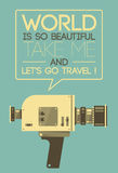 Vintage video camera poster vector illustration