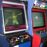Vintage Video games. Sirolo, Italy - September 03, 2004: Video games arcade in Sirolo Royalty Free Stock Photography