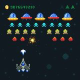 Vintage video space arcade game vector pixel design with spaceship shooting bullets and aliens. Old retro pop pixel video game with galaxy monsters Stock Photography