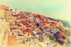 Vintage view of amazing Thira. Stock Image
