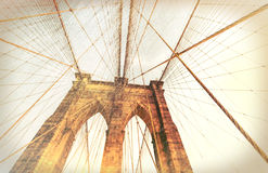 Vintage view of Brooklyn Bridge. Royalty Free Stock Images