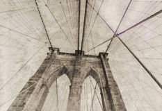 Vintage view of Brooklyn Bridge. Royalty Free Stock Photography