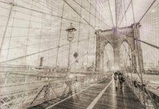Vintage view of Brooklyn Bridge. Stock Photos