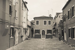 Vintage view from the Burano island, Venice Stock Photo
