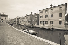 Vintage view from the Burano island, Venice Royalty Free Stock Images