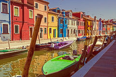 Vintage view of Burano, Italy Stock Photos