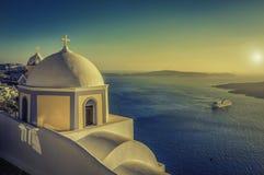 Vintage view of Caldera in Santorini, Greece Stock Photo