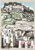 Vintage View of Castle and Palaces in Naples, Italy Stock Photography