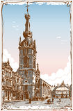 Vintage View of Chimay Church Place in Belgium Royalty Free Stock Photography