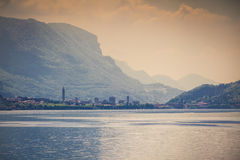 Vintage view of the city Lecco. Italy, Europe. Stock Images