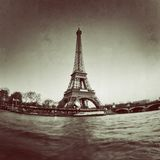 Vintage view of the Eiffel tower in Paris - France Stock Image
