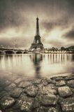 Vintage view of the Eiffel tower in Paris - France Royalty Free Stock Photos