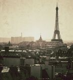 Vintage view of the Eiffel tower in Paris - France Royalty Free Stock Images