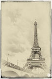 Vintage View of the Eiffel Tower at sunset Royalty Free Stock Photography