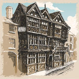 Vintage View of Feathers Hotel at Ludlow in England Royalty Free Stock Image
