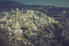 Vintage view of Fira village on island of Santorini Stock Photo