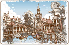Vintage View of Fish Market Canal in Gouda, Nederland. Detailed illustration of a Vintage View of Fish Market Canal in Gouda, Nederland Stock Images
