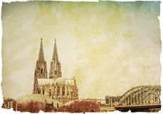 Vintage view of Gothic Cathedral in Cologne, Stock Photos