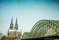 Vintage view of Gothic Cathedral in Cologne, Royalty Free Stock Photos