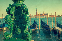 Vintage view of Grand Canal with San Giorgio Maggiore church 1 Royalty Free Stock Image