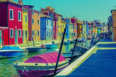 Vintage view of island Burano, Italy Royalty Free Stock Photos