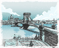 Vintage View of Lions Bridge in Budapest Stock Photography