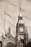 Vintage view of London. Big Ben Stock Photography