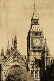 Vintage view of London, Big Ben Royalty Free Stock Photos