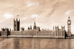 Vintage view of London. Big Ben & Houses of Parliament Stock Images