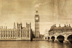 Vintage view of London, Big Ben Royalty Free Stock Images
