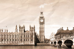 Vintage view of London. Big Ben & Parliament Royalty Free Stock Photography