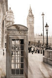 Vintage view of London. Big Ben &  phone booth Stock Photos