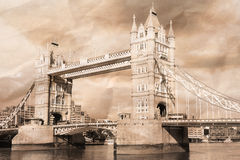 Vintage view of London. Tower Bridge Stock Photography