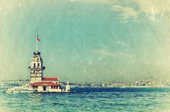 Vintage view of Maiden's Tower Stock Images
