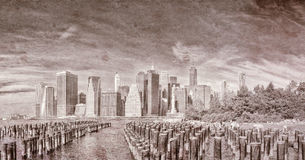 Vintage view of New York City skyline Royalty Free Stock Images
