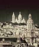 Vintage view of  sacred heart in Paris - France Stock Photo