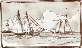 Vintage View of Sailing Ships on the Sea Stock Photos
