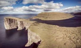 Sorvagsvatn lake over the ocean wide angle vintage view, Faroe Islands