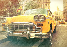 Vintage view of Taxi Cab in Manhattan Stock Image
