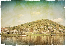Vintage view to old town of Heidelberg Royalty Free Stock Photography